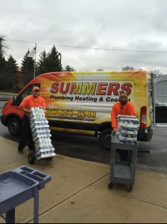 Summers Plumbing Heating & Cooling of Brownsburg Delivers Food Drive Items to Messiah Lutheran Church